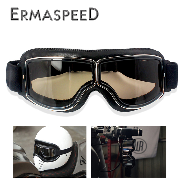 Motocross Goggles Vintage Pilot Scooter Helmet Eyewear Outdoor off road Protective Gear Motorcycle Glasses For Cruiser Harley