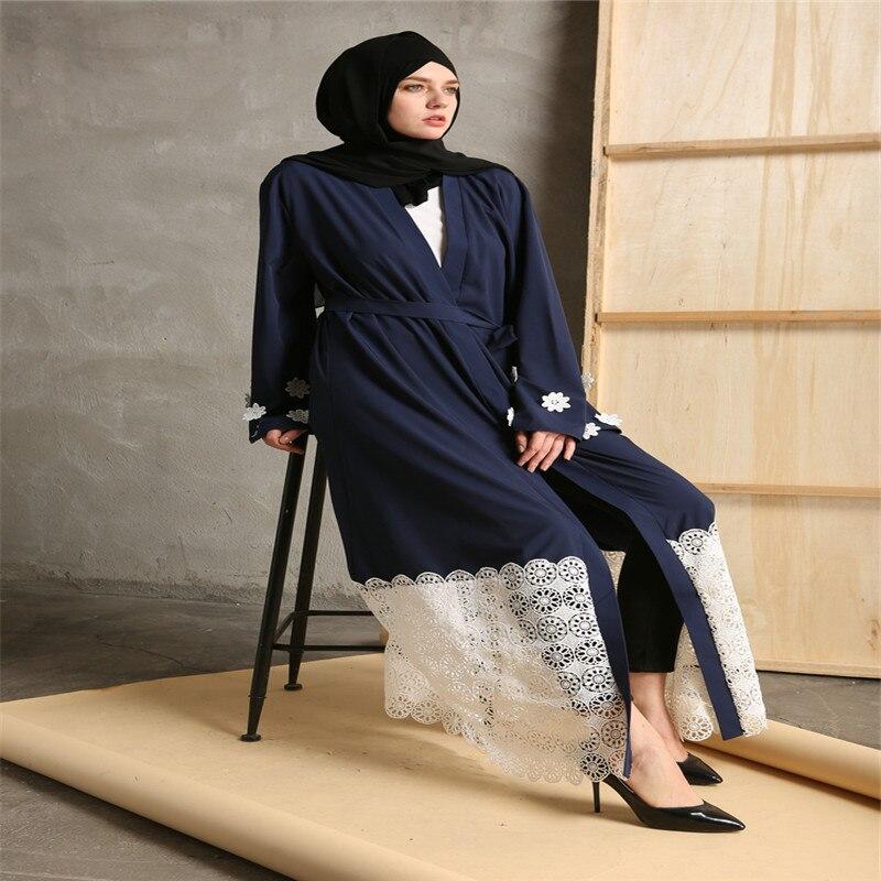 Povremni musliman Maxi haljina čipka patchwork dugi rukav vestidos - Nacionalna odjeća - Foto 5