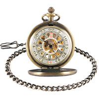 Retro Bronze Mechanical Pocket Watch Roman Numbers Simple Hand Winding Antique Style Treasure Box Pattern Men
