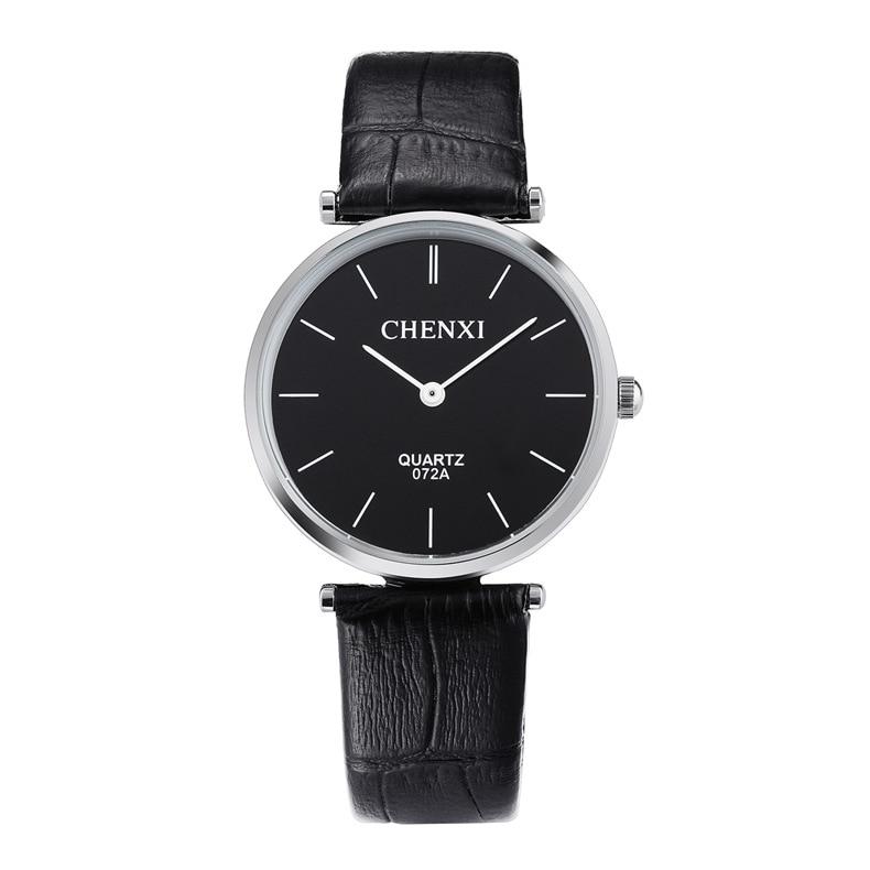CHENXI Black Ultra Thin Genuine Leather Dress Quartz Wristwatches Wrist Watch Clock for Men Women Lovers Couple 072A OP001