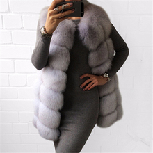 TOPFUR 2019 New Fashion Real Fox Fur Coat Women Winter Gray Vest Medium Long Solid Clothes Slim Natural