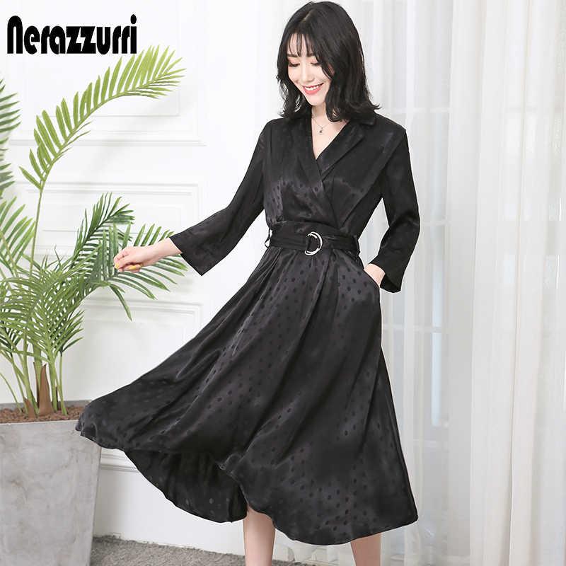 Nerazzurri Vintage polka dot elbise kadın ipek yaz sashes artı boyutu uzun siyah zarif midi yüksek düşük elbise ile kollu 5xl