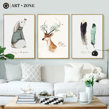 ФОТО art zone nordic deer feather poster print minimalist wall art canvas painting landscape picture living room kids home decor
