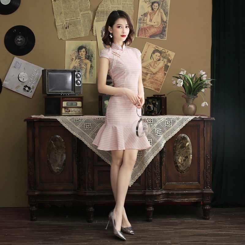 Новинка черного цвета; хлопковое клетчатое мини-платье «русалка»; женские чонсамы; элегантное классическое платье в китайском стиле; Qipao