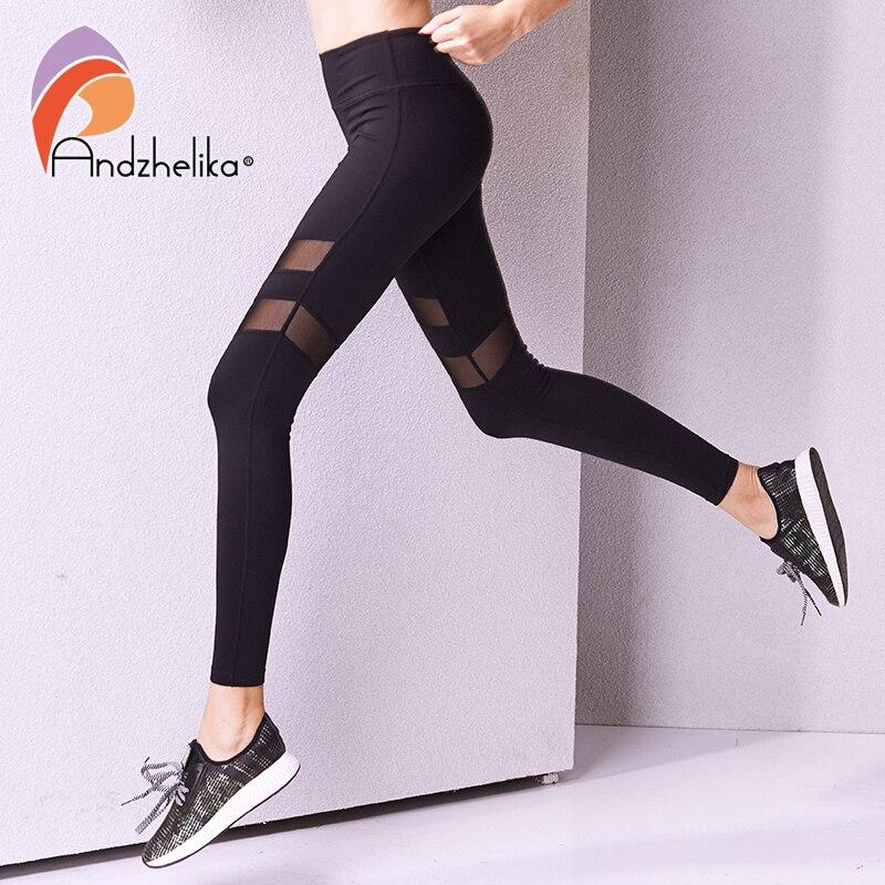 Andzhelika 2018 Sports Pants Women Yoga Pants Legging Mesh Yoga Leggings Elastic Yoga Ladies sport leggings Workout Sport Pants