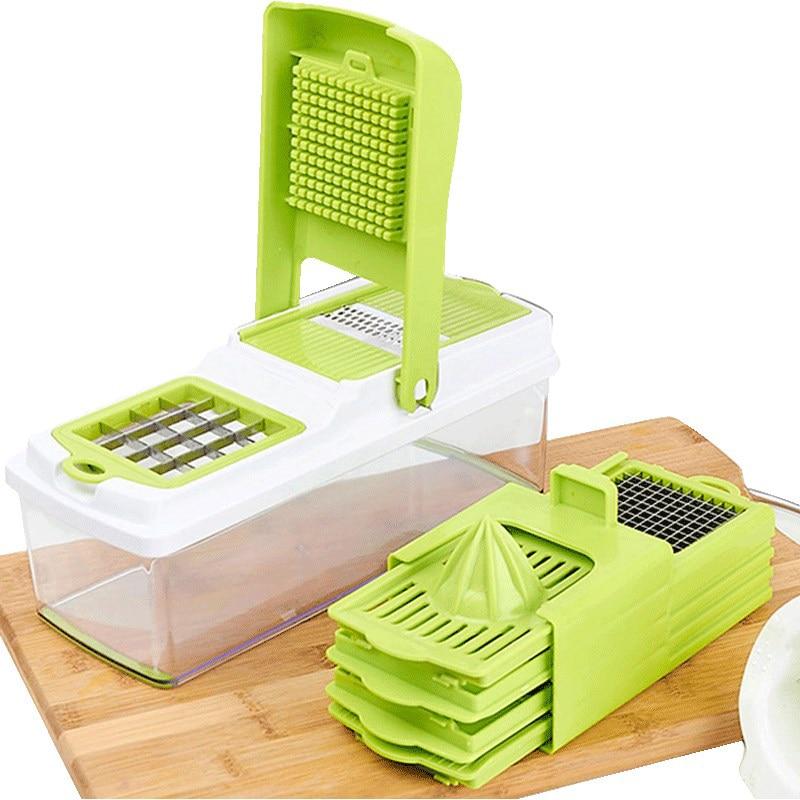 TTLIFE Kitchen Accessories Vegetable Cutter Gadget 6 Blades Potato Cutter Potato Cutter Chopper Stainless French Fries Slicer