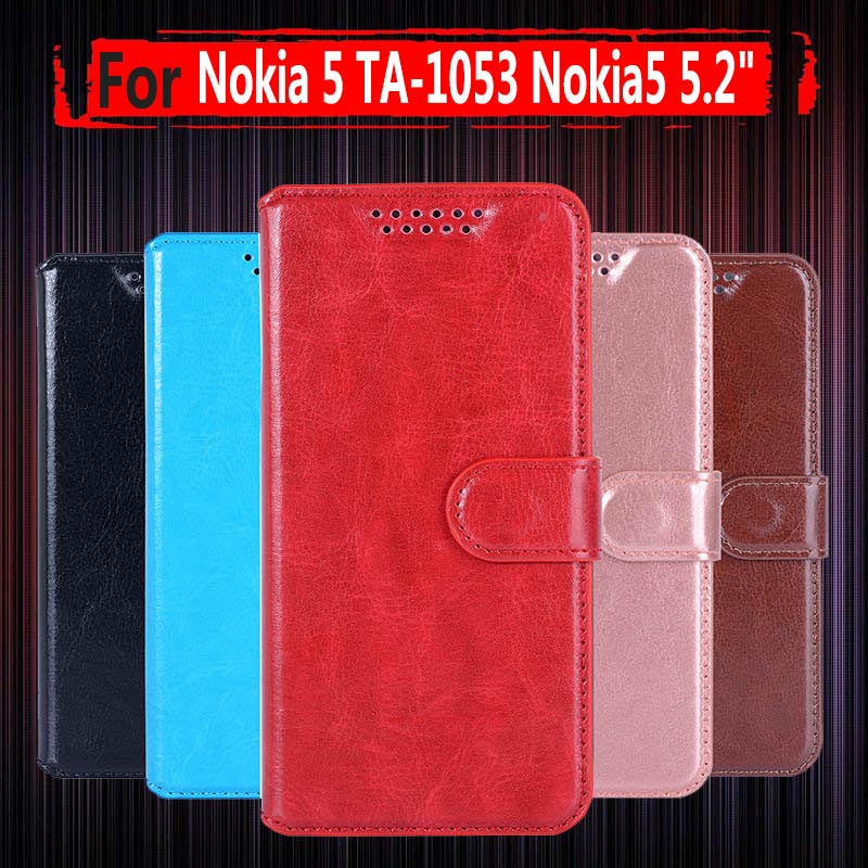 Hot Sale ! For Nokia5 TA-<font><b>1053</b></font> TA-1024 Case Wallet PU Leather Back Cover Phone Case For <font><b>Nokia</b></font> 5 Global Dual TA <font><b>1053</b></font> Case Cover image