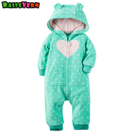 Winter Cotton Thick Fleece Printed Long Sleeve Hooded Zipper Jumpsuit 3 24M Baby Girl Boy Rompers