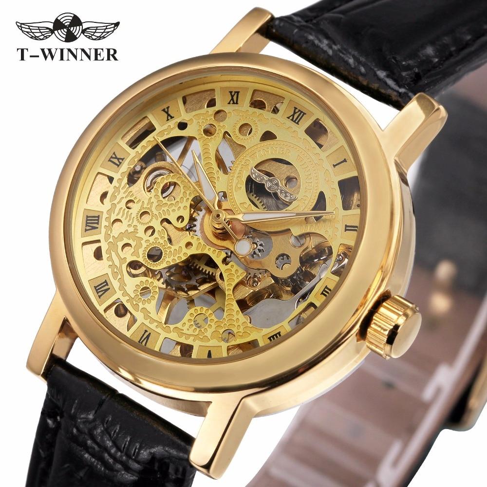 WINNER Γυναικεία ζευγάρια Πολυτελή μηχανική καρπό ρολόι Δερμάτινο λουράκι Ρετρό στυλ Ρωμαϊκή κίνηση Σκελετός αριθμός