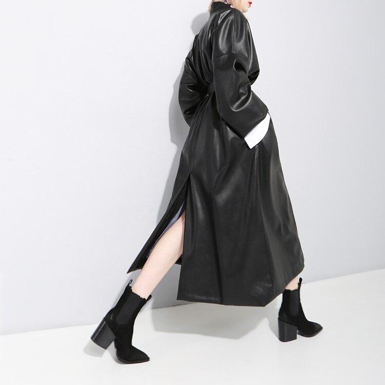Femmes Fait Américain Style En Lâche Couverture Ceinture Taille Et Européen Pour Noir Souple Cuir Manteau 1xOtwr1Aq