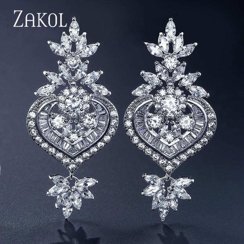 ZAKOL Chandelier Rose Gold Luxury Big Long Marquise Flower Drop Earrings Shining CZ Brincos Bridal Women Wedding Jewelry FSEP187