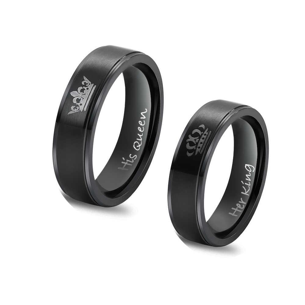 1 Pcs Hot Chic Ring Roestvrij Staal Zijn Koningin En Haar Koning Paar Ringen Liefhebbers Trouwringen Mannen Vrouwen Engagement sieraden