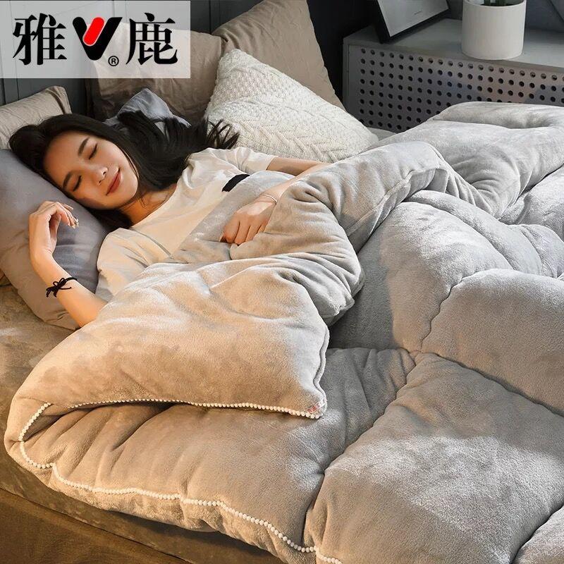GraspDream Twin/King Size Patchwork Thick Warm Quilt Duvet Home Luxury Printed Flannel Winter Blanket Quilting Bedding Comforter