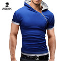 New T Shirts 2016  Fashion Oblique Zipper Tops Tees Hooded Short Sleeve T Shirt Mens Clothing Casual Tee Shirts Hombre DWQA11