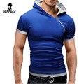 Novas Camisas 2016 Moda Oblíqua Zíper Cobre T Com Capuz camiseta manga curta mens clothing camisetas hombre casuais DWQA11