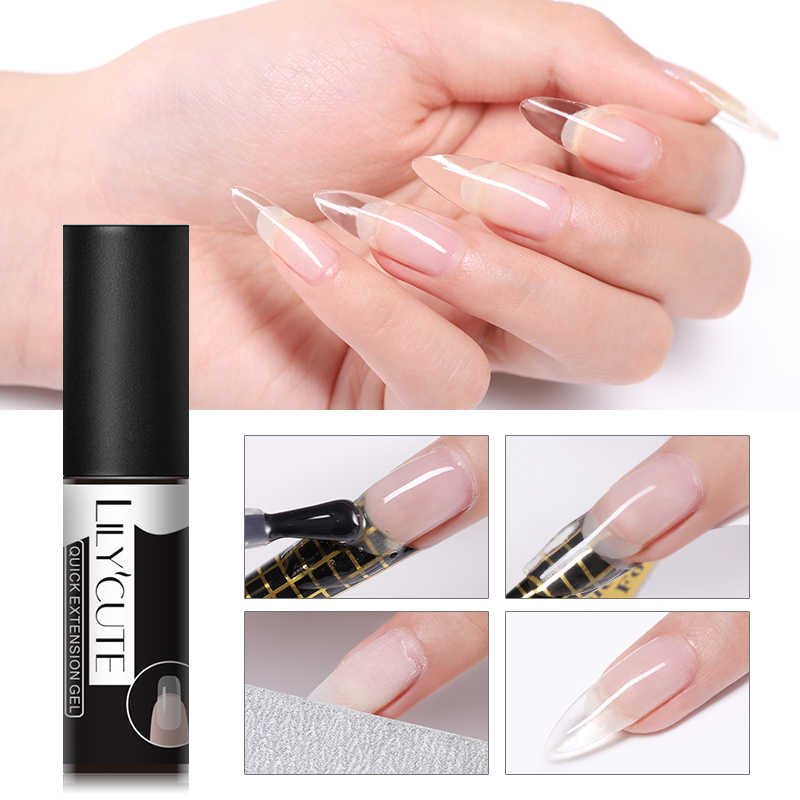 LILYCUTE 5ml Quick Extension Gel Polish Clear Pink Nail Tips Ontwerp UV Gel Nail Art Poly Extension Gel Polish
