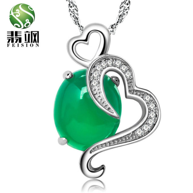 High Quality Green Chalcedony Stone Pendant Heart Shape 925 Silver Necklace Malay Women Wedding Summer Style Jewelry