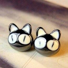 FAMSHIN 2016 Novo de Alta qualidade Coreano moda jóias personalizadas selvagens temperamento encantador grandes olhos pequeno gato brincos Atacado