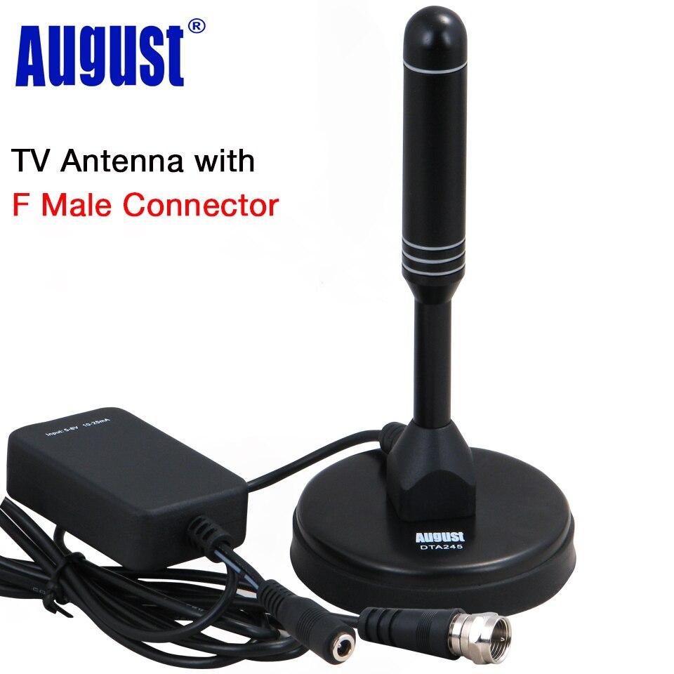 August DTA245 Dvb-t HD TV Antenne mit Signal Booster für USB TV Tuner/ATSC Indoor Verstärkte Digitale F Männlichen TV Antennen