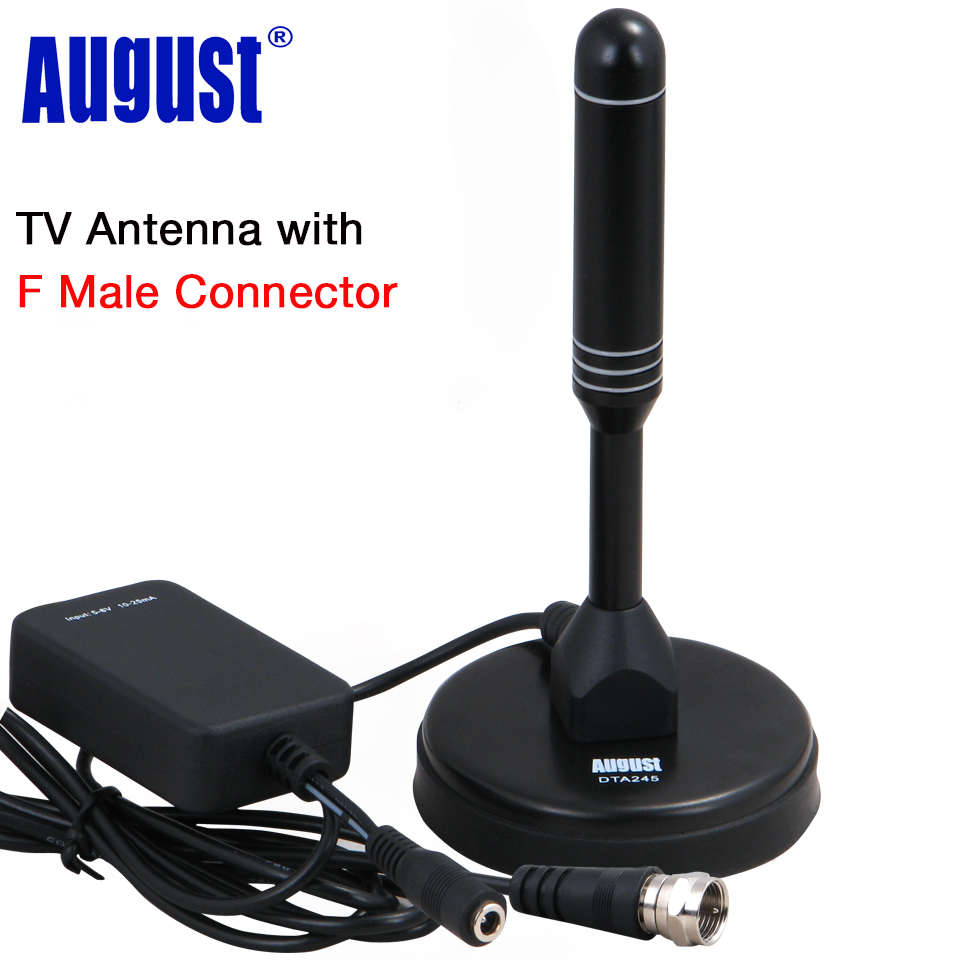 August DTA245 Freeview HD TV Antenna with Signal Booster for USB TV Tuner / ATSC Indoor Amplified Digital F Male TV Antennas