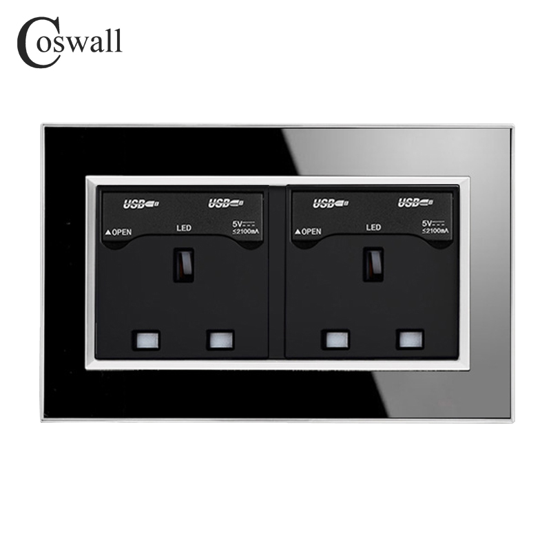 Coswall 146 Type 13A UK Standard Socket Luxury Wall Power Outlet With Dual USB Charging Port For Mobile Acrylic Mirror Panel coswall wall socket uk standard power outlet switched with dual usb charge port for mobile 5v 2 1a output stainless steel panel