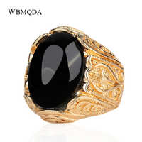 Luxury Dubai Gold Big Black Red Green Resin Stone Signet Ring Vintage Wedding Rings For Men Accessories Drop Shipping