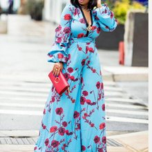Summer Beach Boho Elegant Sexy Party African Black Girls Jumpsuit Women Slim Wide Legs Thin High Waist Floral Fall Female Romper цена в Москве и Питере