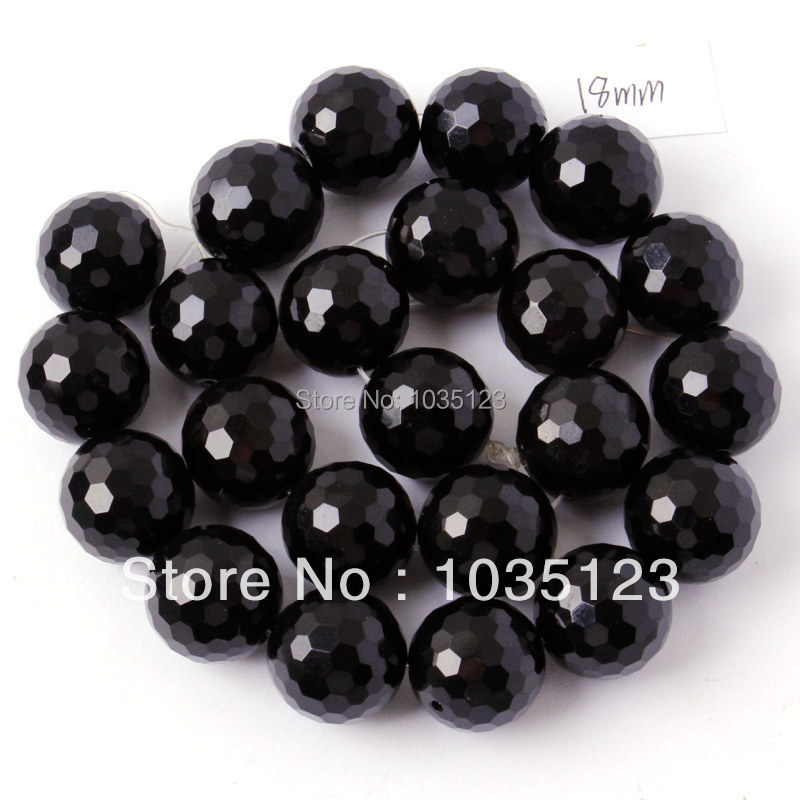 Free Shipping 18mm Natural Faceted Round Shape Black Agates Onyx Gems Loose Beads Strand 15 DIY Jewellery Making w244
