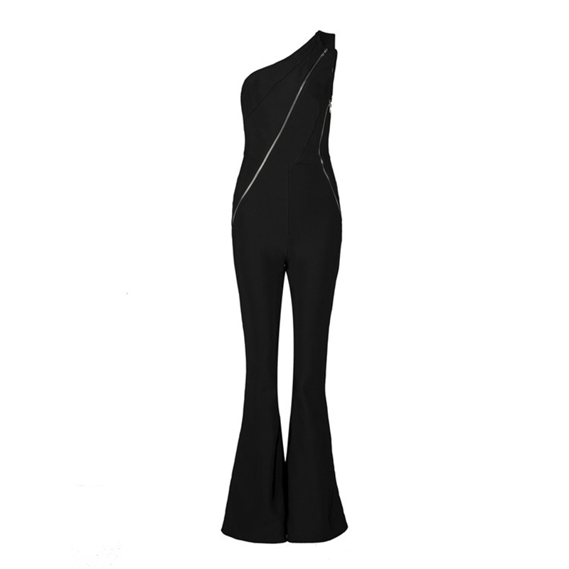 HIGH QUALITY New Fashion 2018 Designer Jumpsuit Womens One-shoulder Zip Boot Cut Bandage Jumpsuit
