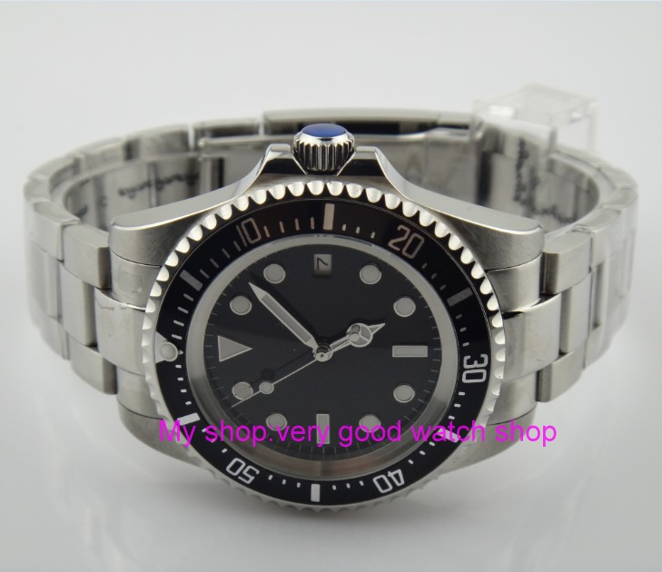 42mm PARNIS Black Bezel Automatic Self-Wind movement Men Watches luminous Mechanical watches 28SY цена и фото