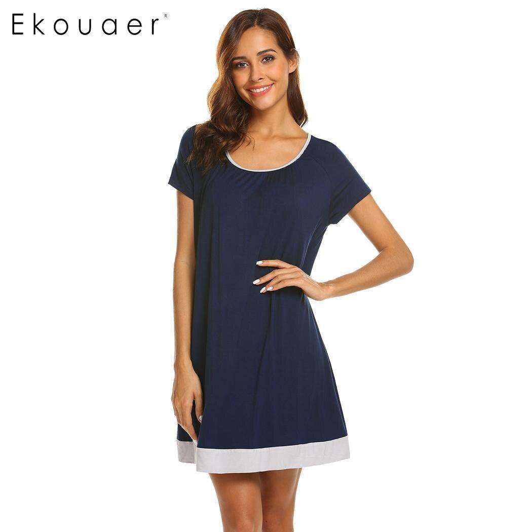 Ekouaer Women Casual Nightgown Sleepshirts Short Sleeve O-Neck Patchwork Loose Chemise Nightdress Sleepwear Dress Home Clothing