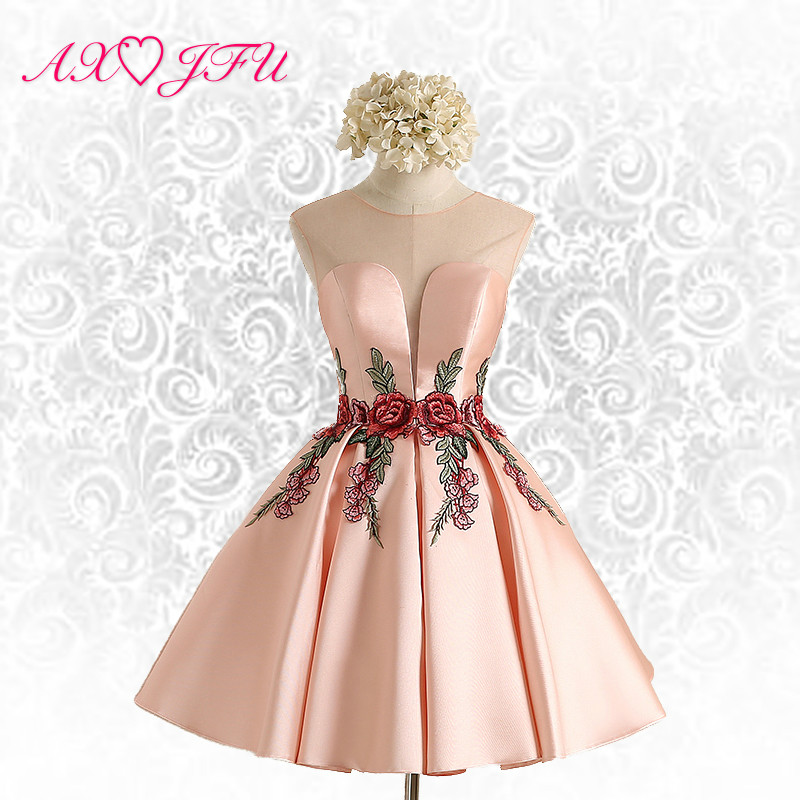 Axjfu Pink Flower Evening Dress New Simple Lace Short Dresses Y Bride Party