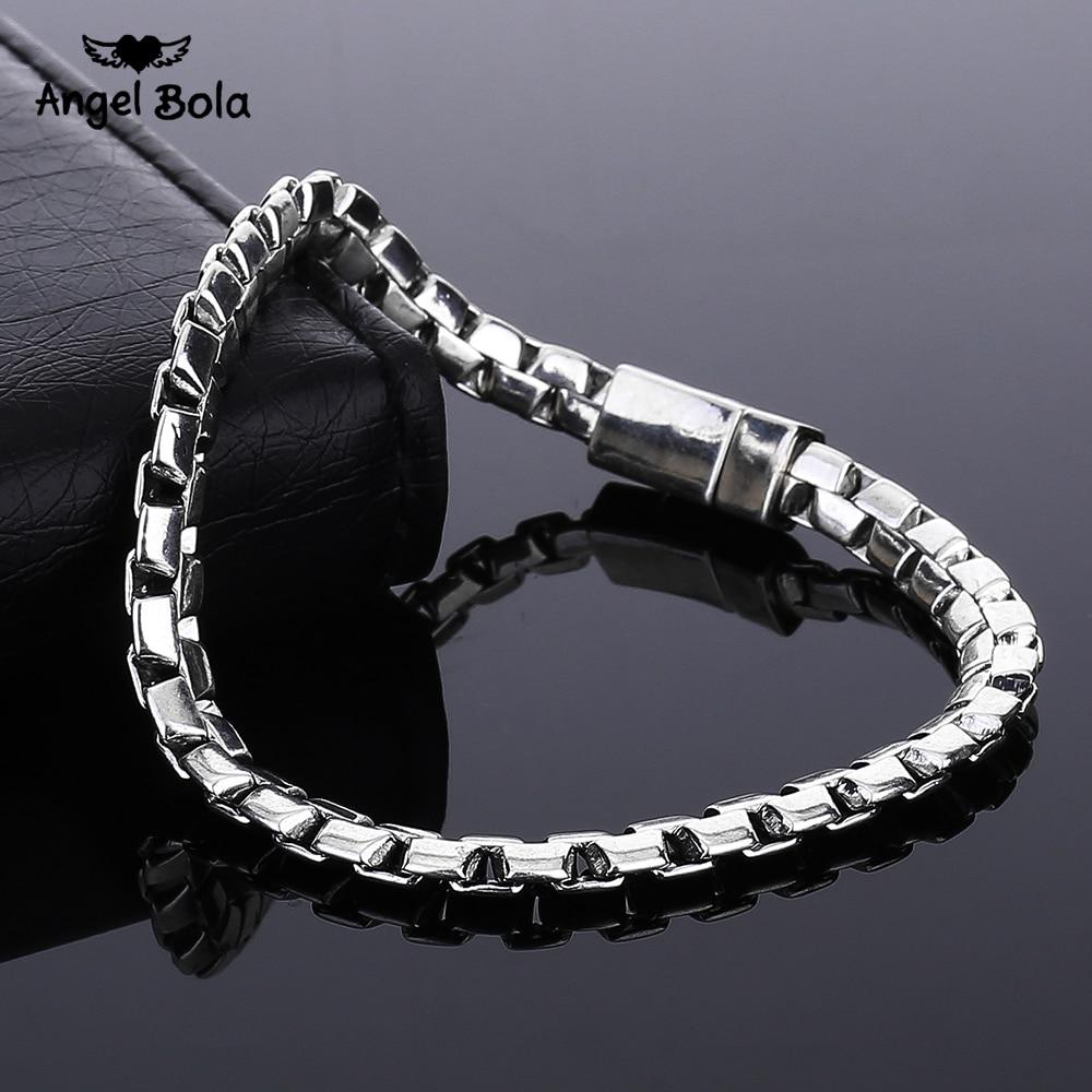 Atacado vintage antigo prata rolo corrente pulseira grossa para as mulheres artesanal punk buda pulseiras masculino jóias