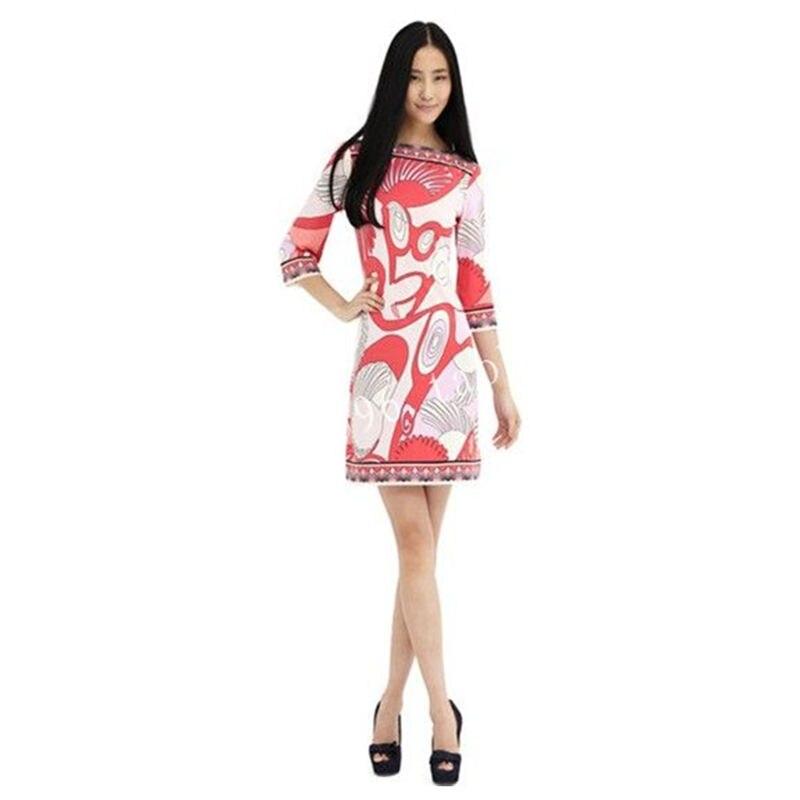 Femmes printemps Fasion Soie Européen et Américain style rafraîchissant impression individuelle cut tricot extensible robe Z-1-23