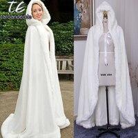 Winter Bridal Cloak Faux Fur Wedding Wraps Jackets Hooded For Winter Weddings Bridal Cloaks Wedding Guest