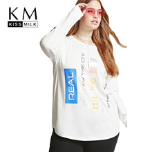 Kissmilk Women Plus Size Letter Print Multi T shirt Round Neck Long Sleeve Loose Basic Tops Large Size Casual Female T Shirt long sleeve plus size palm print asymmetrical t shirt