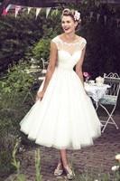 A Line Cap Sleeves Short Knee Length Wedding Dresses Cutie robe de mariage vestidos de noiva