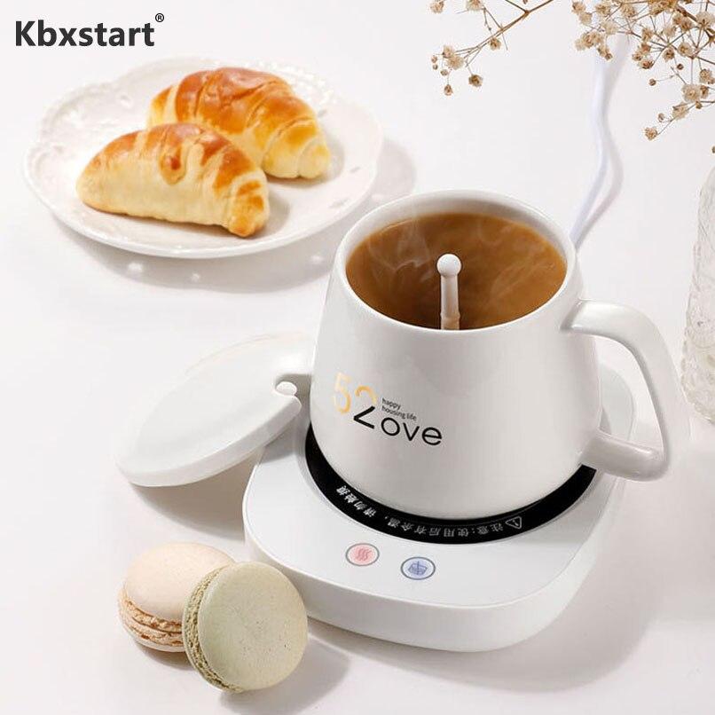Kbxstart 55 Цельсия нагревательный термостат чашка магнитное, перемешивающее мини-чашка для здоровья, чай, подогреватель кофе, грелка, чашка 220 В