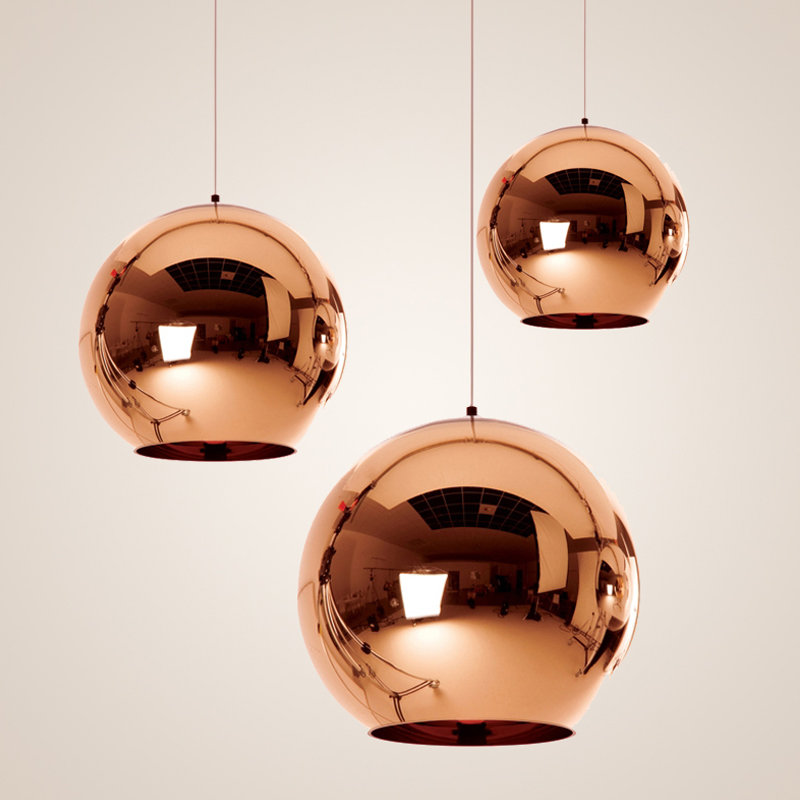 Modern Classic Fashion Gold/Silver Pendant Lamp Mirror Shade Glass Ball E27 Bulb LED Pendant Lights For Dining Room
