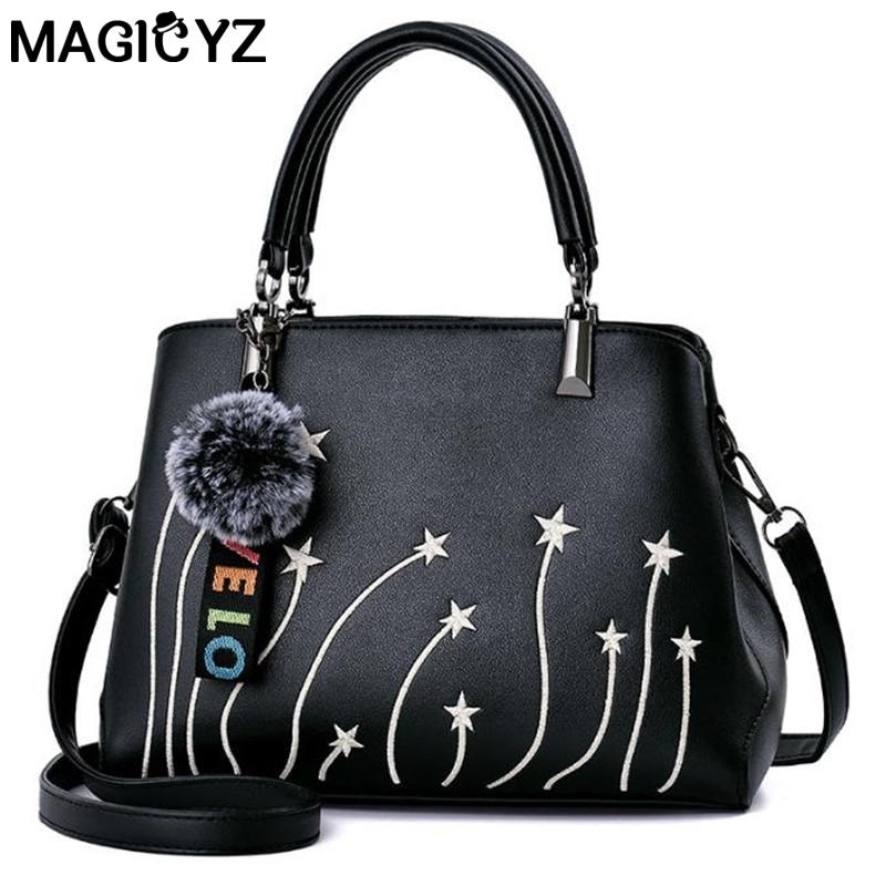 MAGICYZ Embroidery women tote bag Star pattern female large shoulder messenger bags with fur ball bolsa leather women handbags polyester 600d oxford cloth borsa termica pranzo lunch cooler thermal lunch bags tote shoulder bag with zipper bolsa isotermica