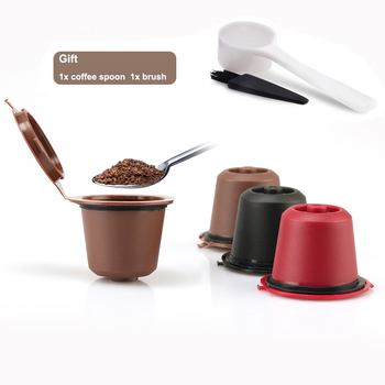 3pcs/pack Refillable Reusable Nespresso Coffee Capsule cafe With Measuring Spoon & Cleaning Brush 1