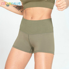 Colorvalue Seamless Waist Patchwork Sport Fitness Shorts Women High Waist Workout Running Shorts Slim Fit Quick Dry Gym Shorts women s active style elastic waist patchwork sport shorts