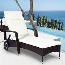Outdoor Recliner Cushioned Chaise Lounge W/ Adjustable Wheels Sturdy Construction Adjustable Comfortable Outdoor Chair OP3414(China)