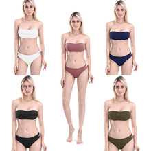 Sexy High-Quality Solid Bathing Suit Women 5 Colors Strapless Triangle Bikini 2019 Tie-Waist Hollow Out Ladies Swimwear Bandeau