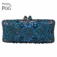 068dc5286 Boutique De FGG azul turquesa De cristal De mujeres embrague bolso De noche  nupcial boda fiesta
