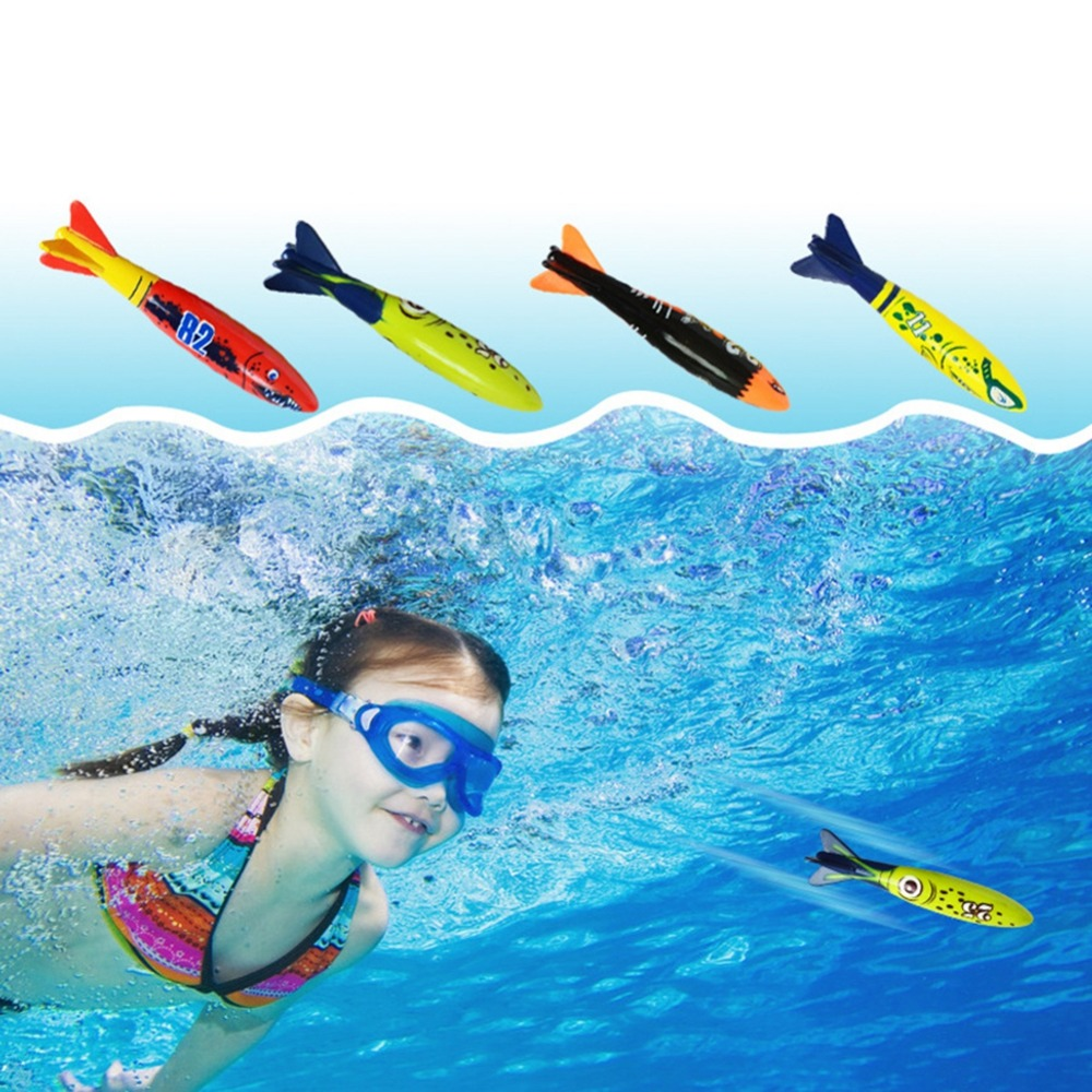 4 Pcs/Set Torpedo Rocket Throwing Toy Summer Torpedoes Bandits Children Underwater Dive Sticks Toy Fun Swimming Diving Game Toy
