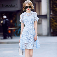 Truevoker Summer Designer Dress Women S High Quality Skry Blue Short Sleeve Embroidery Crochet Hollow Mini