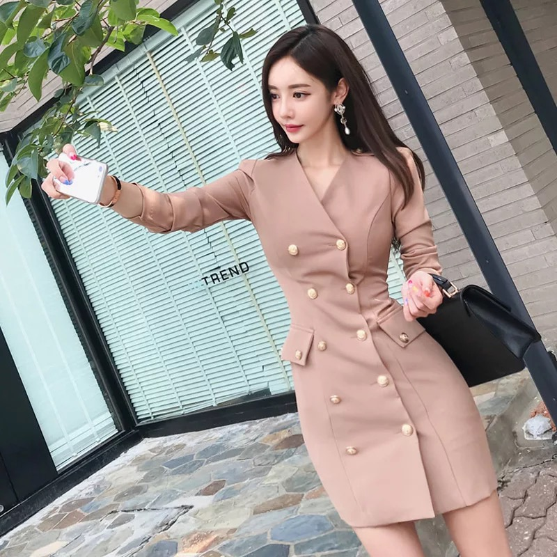 Fashion Women Work Style Double-breasted Coat New Arrival Korean Outdoor Temperament Solid Comfortable Elegant Thick Slim Jacket