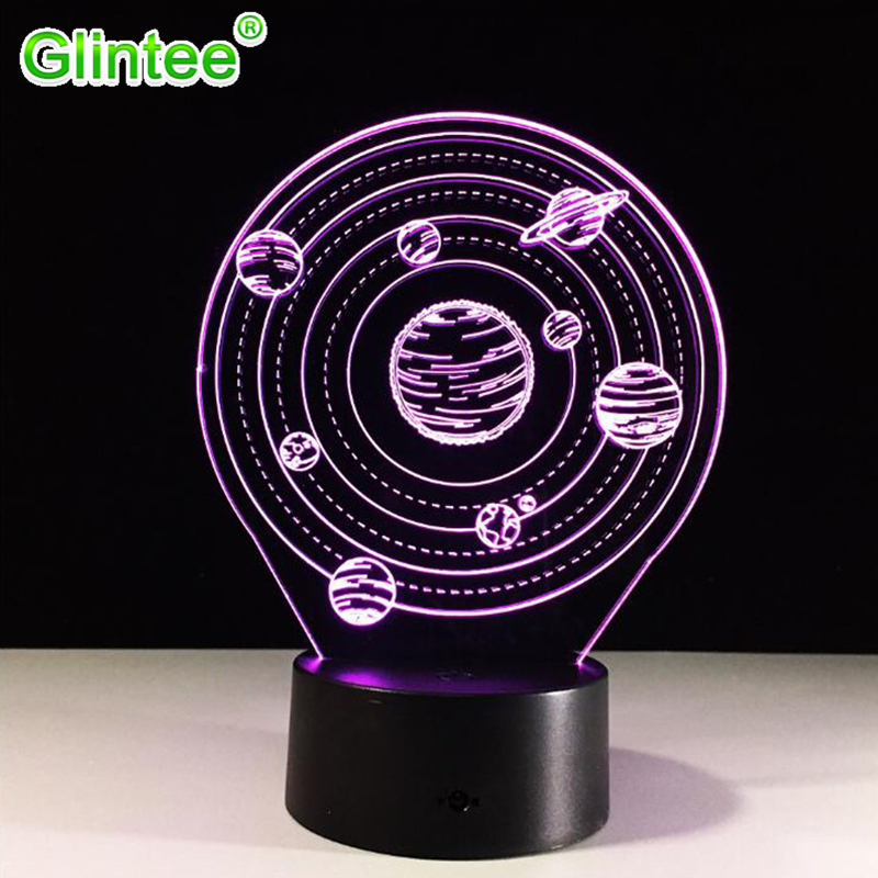 цена 3D Visual Planet LED Illusion Night Lights Universe Table Acrylic Touch Lamps Changing Cosmos USB Nightlight Luminous Lighting
