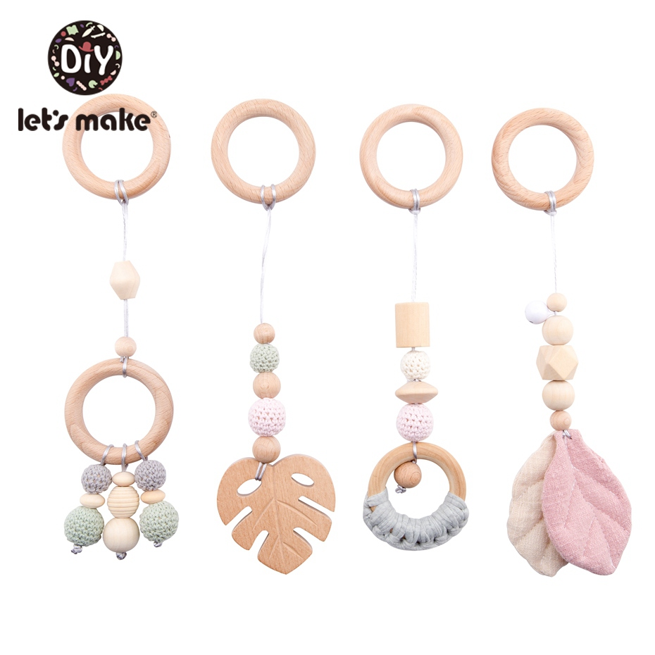 Image 4 - LetS Make 4Pc/Set Baby Teething Pacifier Necklace Hanging Toy Wooden Rattles Toys For Children From 0 12 Months  TeetherBaby Rattles & Mobiles   -